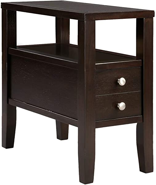 The Furniture Cove Cappuccino Espresso Finish Wood Bed Side End Table Nightstand 24