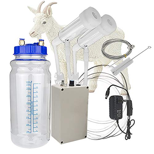 Milking Machine for Goat, Portable Electric Goat Milker Milking Machine with 2 Teat Cups, Adjustable Vacuum Pump, 2L Milk Container, Food Grade Hose (for Goat)
