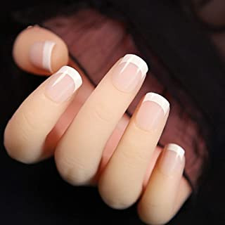 24PCS Long Coffin Glossy False Nails Solid White Acrylic Nails Natural Clear Glitter Ballerina Nail Tips for Nail Extention (Color : F055)