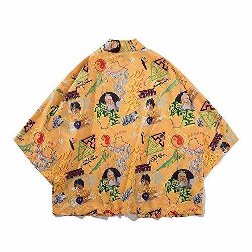 Hombres Mujeres Impresión Haori Camisa del Traje De Cosplay del Japonés del Kimono De Verano sobre El Tema De La Blusa De Calle Yukata Zzzb (Color : Style J, Size : S)