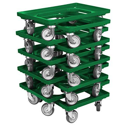 10 Stück Transportroller für Kisten 60 x 40 cm mit 4 Lenkrollen in grün