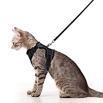 Cat Harness and Leash Set for Walking, Escape Proof with 59 inches Leash - Adjustable Soft Vest Harnesses for Small Medium Cats, Cat Leash Harness with Reflective Strips & 1 Metal Leash Ring