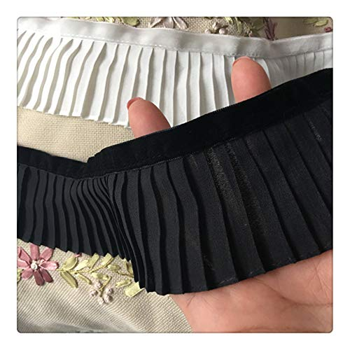 Aqiong KAERMA breedte 6cm Koreaans wit zwart katoen linnen 3D plissé band applique-ordening-vrouwen-jurk gordijnen DIY naaitoebehoren hoofdband