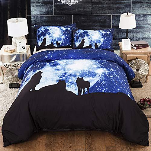 DXSX Funda nórdica Cama Galaxia 3D Animal León y Lobo Patrón Imprimiendo Funda nórdica y Funda de Ropa de Cama Poliéster superfino Suave y Transpirable (Star Wolf, 240 × 220cm- Cama 150cm)