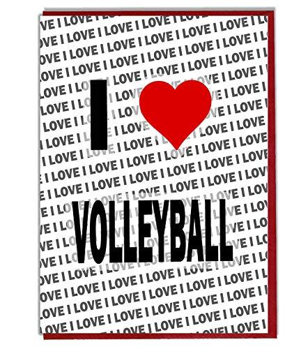 I Love Volleyball Grußkarte – Geburtstagskarte – Damen – Herren – Tochter – Sohn – Freund – Ehemann – Ehefrau – Bruder – Schwester