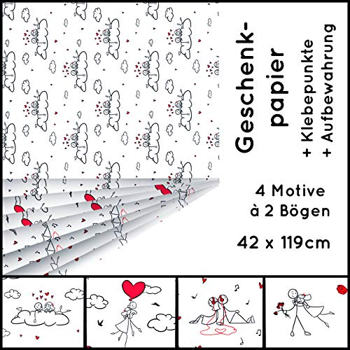 FormKUNSTform - Papel de regalo para enamorados, set de día de San Valentín, compromiso, boda, cumpleaños, mujeres, niñas, amigas, sostenible, 8 x arcos, 42 x 119 cm, enrollado