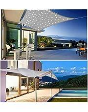 HYISHION Zonnezeil met ledlicht, zonnescherm voor patio, rechthoekig, bescherming tegen uv-stralen, robuust en ademend, grijs, 4 x 5 m