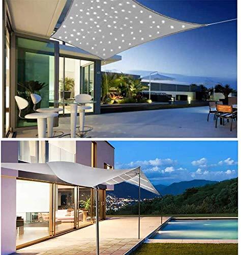 HYISHION Sonnensegel Quadrat Mit LED-Sonnenlicht, Rechteckig, Wasserdicht Windschutz mit 95% UV Schutz Sonnenschutz für Draußen, Patio, Garten Terrasse Camping,Grau,2.5 * 3m
