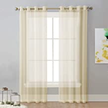 NICETOWN Sheer Curtain Panels 96 - Window Treatments Voile Panels with Eyelet Top for Living Room (1 Pair, W54 x L96, Beige)