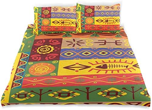 Juego de Funda nórdica con Estampado folclórico del Oeste Africano, Juego de Cama Decorativo de 3 Piezas con 2 Fundas de Almohada, fácil Cuidado, antialérgico, Suave y Liso