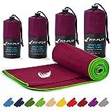 Fit-Flip Reisehandtuch Set – 16 Farben, viele Größen – Ultra leicht & schnelltrocknend – das perfekte Funktionshandtuch, Strandlaken und Badetuch (100x200cm, Weinrot - Grün)