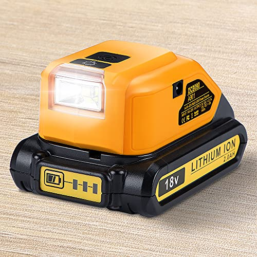 Hipoke DCB090 Battery Adapter for Dewalt, USB Charger with LED Work...