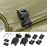 Voodonala for Jeep JK Black Stainless Steel Hood Catch Latches Kit for 2007-2018 Jeep Wrangler JK JKU
