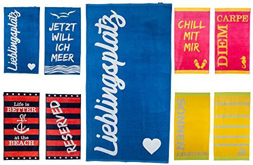 MAJUCA Strandtuch 90x170 cm Badetuch Strandlaken Handtuch 100% Baumwolle Velours Frottier Pflegeleicht (blau - Lieblingsplatz)