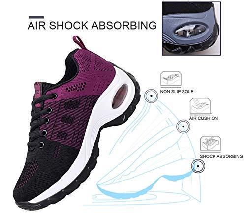 Zapatos cuña Mujer Zapatillas de Deportivas Plataforma Mocasines Primavera Verano Planas Ligero Tacon Sneakers Cómodos Zapatos para Mujer, Purple,36 EU