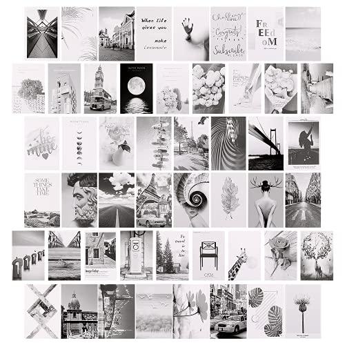 Premium Wandcollage, Ästhetische Bilder, Wandcollage-Kit, 50 Stück Ästhetik Wand Collage, Stilvolles Bilderset für Wohnzimmer |11x16 cm|Schwarz & weiß| für Mädchen & Jungen Teenager Schlafzimmer Decor