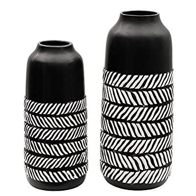 TERESA'S COLLECTIONS Ceramic Flower Vase, Black and White Modern Rustic Decorative Vases for Home Decor, Table, Living Room, Kitchen, Centerpieces, Office, Wedding Decoration, Gift-Set of 2