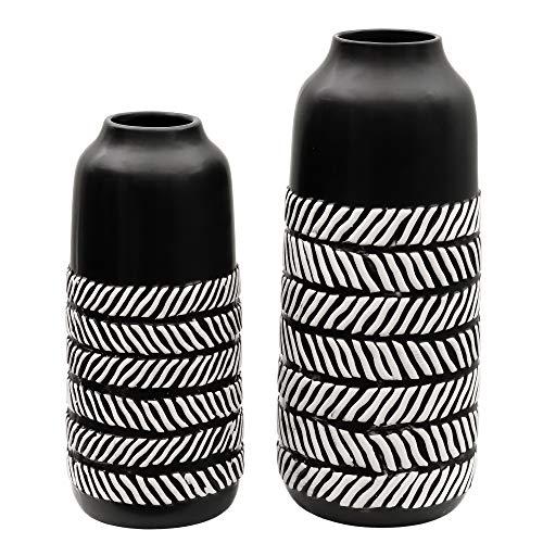 TERESA'S COLLECTIONS Vasi in Ceramica Vaso di Fiori Set di 2 vasi in Ceramica 19/25 cm Vaso per Fiori Piccolo Bianco e Nero Vaso da Tavolo Moderno Piante Vaso Decorazioneper la Festa della Mamma