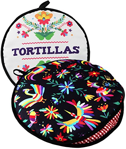 """TWO SIDED! Tortilla Warmer, Size 11"""" Insulated and Microwaveable, Fabric Pouch Keeps Them Warm for up to One Hour! Perfect Holder for Corn & Flour For All Occasions!"""