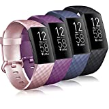 Tobfit 4 Pack Bands Compatible for Fitbit Charge 4 / Fitbit Charge 3 and Charge 3 Se, Silicone Replacement Wristbands for Women Men, Black, Blue, Rose Gold, Purple, Small