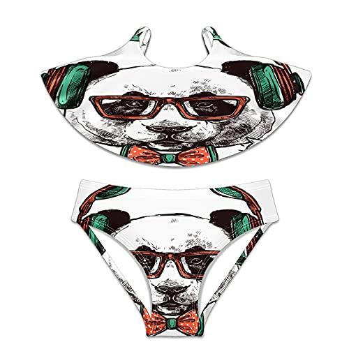 N\O Traje de baño para niñas 2 piezas traje de baño bikini Hipster Panda Gafas - - X-Large
