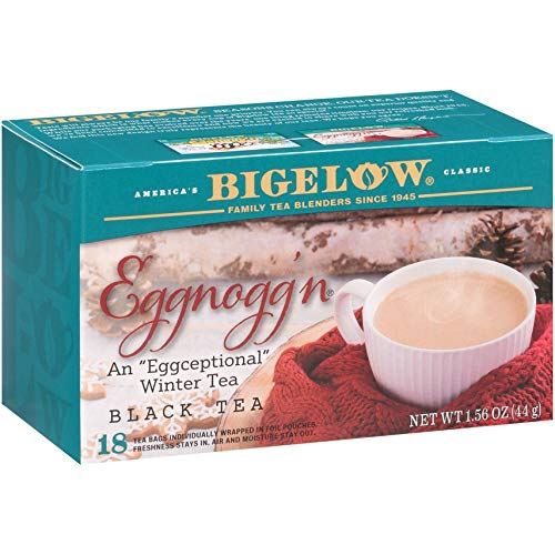 Bigelow Tea Tea Eggnogg'n Tea, 18 Bags, Caffeinated Individual Black Tea Bags, for Hot Tea or Iced Tea, Drink Plain or Sweetened With Honey or Sugar, 6Count
