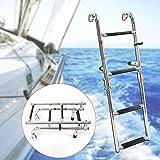 YIYIBY Escaleras de barco Escalera telescópica de 4 escalones Escalera de embarque plegable de acero inoxidable para embarcaciones marinas Piscina de yates