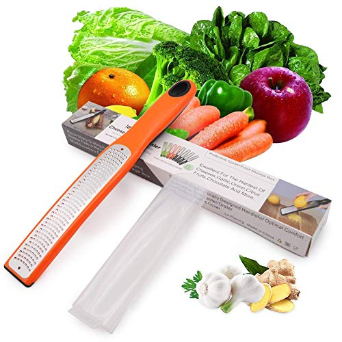 Cheese Grater amp Zester Stainless Steel with Plastic Cover–Great for Lemon Vegetables ,Ginger Garlic Parmesan Coconut Citrus ,Chocolate,Nut Long Ergonomic Handle  Fine Grate SpicesOrange