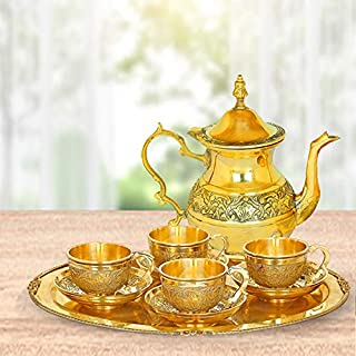 JUST 4U Enterprise Brass Kettle Royal Mughlai Style Pot for Serving Drink & Beverages Brass Tea Pot Kettle and 4 Pcs Cup a...