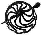 Parcelona French Swirls Black Large Celluloid Chignon Hair Slider Pin Thru Ponytail Holder Hair Updo...