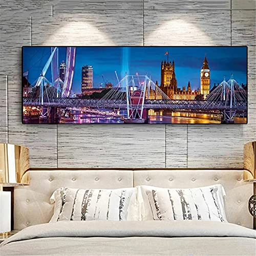 DIY 5D Pintura Diamante Completo Adulto por Número Kit Taladro Puente de vista nocturna Diamond Painting Large Rhinestone Bordado Diamante Arte Craft Decor del hogar Square Drill,24x48inch