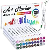 30 Colors Dual Tip Alcohol Based Art Markers,Shuttle Art Alcohol Marker Pens Perfect for Kids Adult Coloring Books Sketching and Card Making