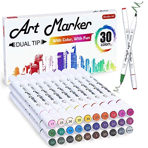 30 Colors Dual Tip Alcohol Art Markers,Shuttle Art Alcohol Marker Pens Perfect for Kids Adult Coloring Books Sketching and Card Making