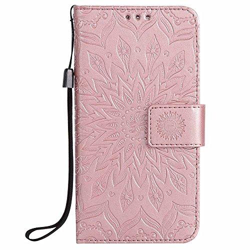 Capa para Galaxy S7, Dfly Premium de couro PU macio em relevo design mandala suporte suporte para cartão, capa carteira protetora flip fina para Samsung Galaxy S7 (2016), ouro rosa
