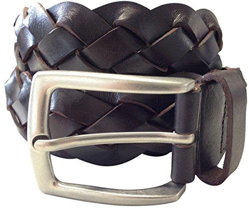 Ledergürtel geflochten 3,5cm   Flecht-Gürtel für Damen Herren 35mm   Leder-Gürtel mit silberner Schließe   Braun 100cm