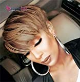 Usexy Hair Short Human Hair Pixie Cut Wigs Brazilian Straight Hair Wigs for Black Women Human Hair Wig With Bangs(OT30 Color)
