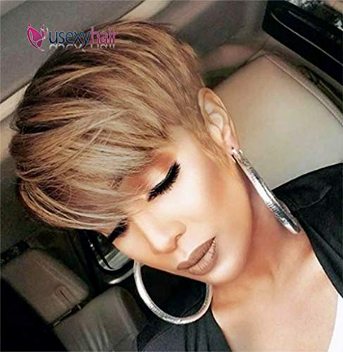 Usexy Hair Short Human Hair Pixie Cut Wigs Brazilian Straight Hair Wigs for Black Women Human Hair Wig With Bangs(OT30 Color)