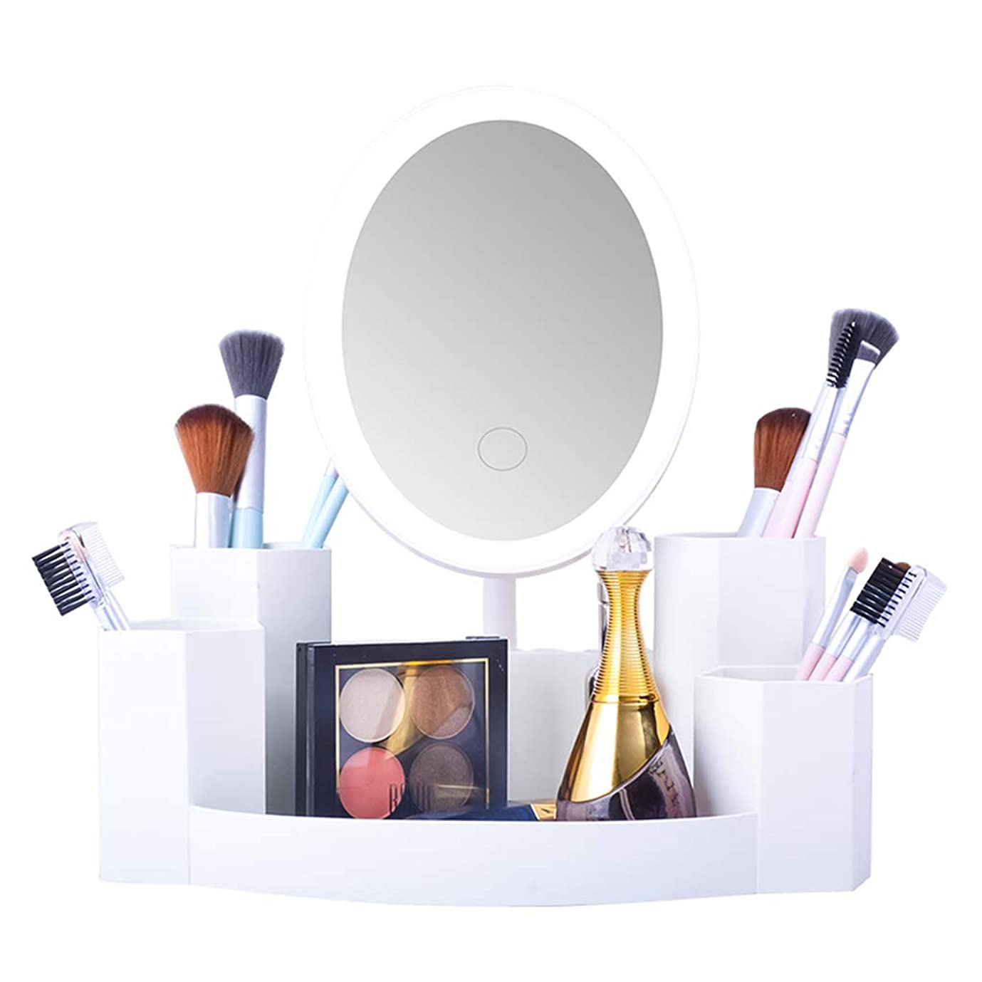 カテナ尋ねるバッチLED化粧鏡化粧台付き化粧品収納ボックス寮化粧品収納ボックス最高の贈り物 (Color : WHITE, Size : 27*15*28.5CM)