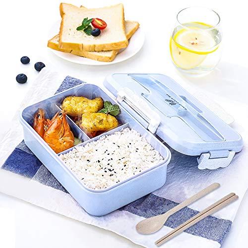 Gxhong Boites Bento 1000ML Lunch Box Enfant avec 3 Compartiments et Couverts Écologique Hermétique Boîte à Repas Adultes pour Pique Nique l'école Bureau-Bleu