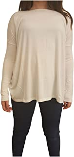 Women's Famous Long Sleeve Bamboo Top Loose Fit - Off White L