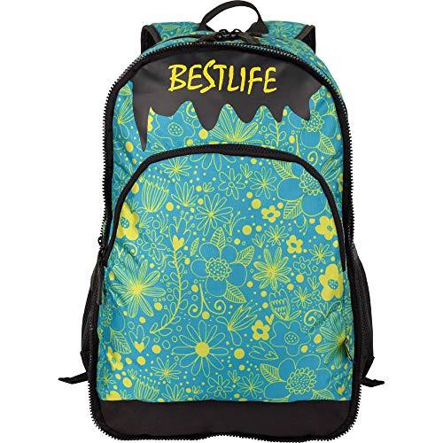 """Bestlife Mochila Unisex """"Just"""" Mochila Escolar, para El Tiempo Libre con Compartimento para El Portátil, Azul/Amarillo, 49 cm"""