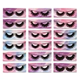 Pooplunch False Eyelashes 18 Pairs Faux Mink Lashes Pack 9 Styles Dramatic Fluffy Volume Natural Wispy Fake Eye Lashes Individual Rainbow Packaged Wholesale Multipack