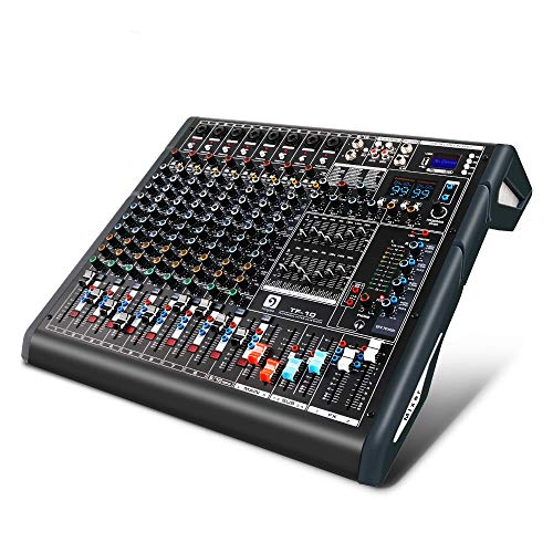 Vangoa TF10 Professional Audio Mixer, 10 Channel Bluetooth Mixing Console with Dual 99 DSP, 4-band EQ, 4 Aux, 2 FX, 48V Phantom, USB, Recording