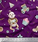 Soimoi Lila Poly Krepp Stoff Partei Flagge, kleine Kuchen