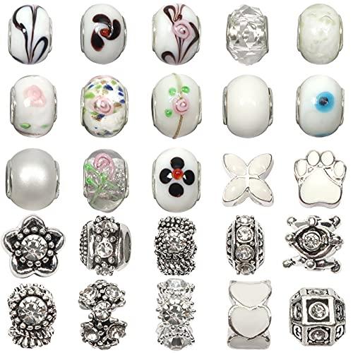 TOAOB 50 Piezas Blanco 14 mm Abalorios Europeos de Plata Antigua Tibetana Esmaltada Cuentas de Aleación Estrás Cristal Perlas Espaciadoras para Fabricación de Joyas Pulseras y Cadena de Serpiente