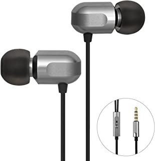 Earbuds, GGMM Wired Earphones Noise Isolating Headphones Earbuds with Microphone Heavy Deep Bass Earphones Ear Buds, in Ear Headphones Fits All 3.5mm Interface Device (C700-Gray)
