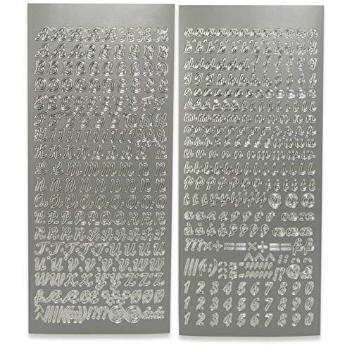 WikaKerzen Sticker Buchstaben-Set, Silber - Groß- und Kleinbuchstaben mit Zahlen - zum Beschriften von Kerzen zur Taufe Kommunion oder Hochzeit