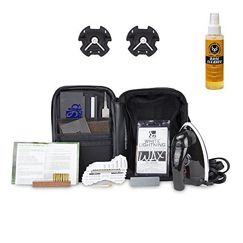 Demon Snowboard Tune Up Kit with Iron, Wax, Base Cleaner & Snowboard Wall Mount Hangers