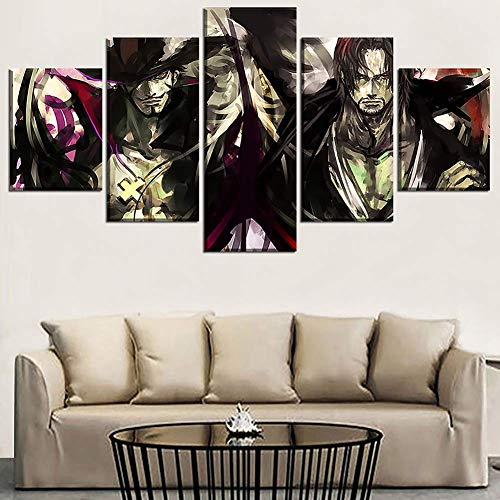 HD Prints on Canvas Picture Paintings 5 Panel Anime Monkey D. Luffy Poster Print Canvas Painting Wall Decor for Home Decor,L,30x502+30x702+30x801