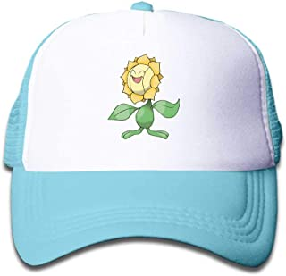 MWHprint Youth Adjustable Mesh Hats Baseball Trucker Cap for Boys and Girls, Pokemon Sunflora, Black, Sky Blue, Pink